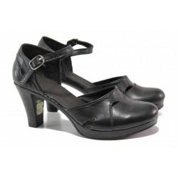 Анатомични дамски сандали, естествена кожа, затворени пета и пръсти / Ани 238-6843 черен / MES.BG