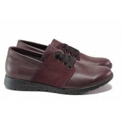 Равни дамски обувки, естествена кожа, комфортно анатомично ходило / Ани 292-171 бордо / MES.BG