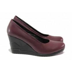Български дамски обувки, естествена кожа, анатомия / Ани 165-15462 бордо / MES.BG