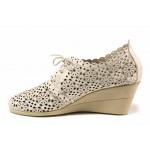 Летни български обувки, естествена кожа, анатомични, перфорация / Ани С-3 бежов / MES.BG