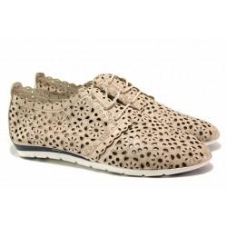 Равни дамски обувки, естествена кожа, гъвкаво анатомично ходило, перфорация / Ани 1706 бежов / MES.BG