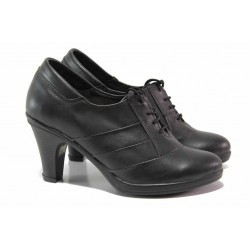 Български анатомични обувки, ток с удобна височина, естествена кожа / Ани 128 NAVI черен / MES.BG