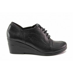 Български дамски обувки, платформа, анатомични, естествена кожа / Ани 182-7192 черен / MES.BG