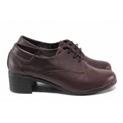 Български обувки, анатомично ходило, естествена кожа, среден ток / Ани 183-7251 бордо / MES.BG