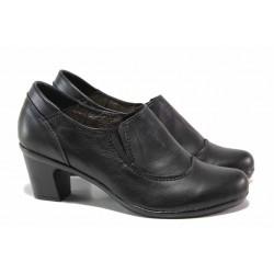 Български обувки, анатомично ходило, естествена кожа, среден ток / Ани 187-7124 черен / MES.BG
