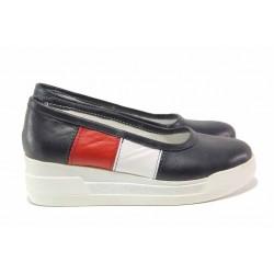 Български дамски обувки, платформа, анатомични, естествена кожа / Ани 258-8218 син-бял / MES.BG
