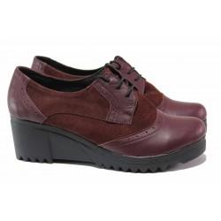 Дамски обувки, платформа, анатомични, естествена кожа, връзки / Ани 274-8612 бордо / MES.BG