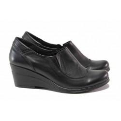 Дамски обувки на платформа, естествена кожа, анатомични / Ани 187-7192 черен / MES.BG