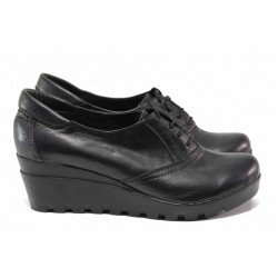 Дамски обувки, платформа, анатомични, естествена кожа / Ани 184-15431 черен / MES.BG