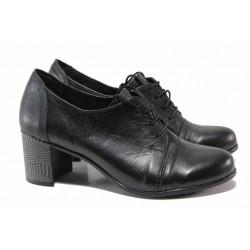 Анатомични български обувки, среден ток, естествена кожа / Ани 185-527 черен / MES.BG
