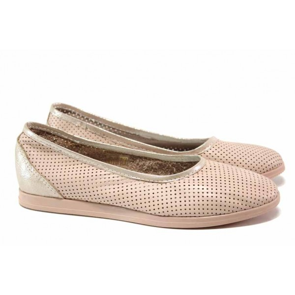 Кожени дамски обувки, гъвкаво анатомично ходило, перфорация / Ани 286 AMINA розов / MES.BG