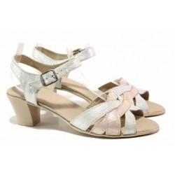 Български сандали от естествена кожа, анатомично ходило, стабилен ток / Ани 202-1705 бял-розов / MES.BG