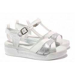 Български сандали от естествена кожа, анатомично ходило, платформа с плавна извивка / Ани 202-8218 бял-сребро / MES.BG