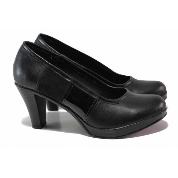 Български анатомични обувки, стабилен висок ток, естествена кожа / Ани 258-6843 черен / MES.BG