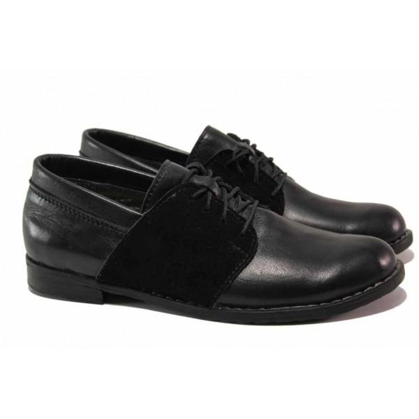 Български равни обувки, анатомични, естествени кожа и велур, закопчаване-връзки / Ани 292 GEDO черен / MES.BG