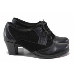 Български дамски обувки, естествени кожа и велур, връзки, среден ток / Ани 274-1705 черен / MES.BG