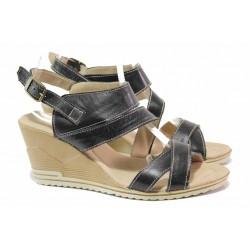 Български дамски сандали, анатомични, естествена кожа, асиметрични каишки, катарама / Ани 269-15462 черен / MES.BG