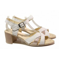 Български дамски сандали, изцяло естествена кожа, среден ток, анатомични / Ани 304-527 бял / MES.BG