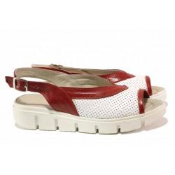 Български дамски сандали, анатомични, нежна перфорация, естествена кожа / Ани 236-382 бял-червен / MES.BG