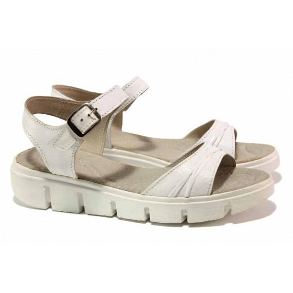 Български дамски сандали, анатомични, естествена кожа / Ани 239-382 бял / MES.BG