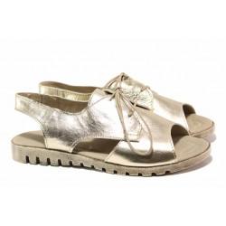 Кожени дамски сандали, анатомични, връзки за регулиране на широчината / Ани 266-16121 злато / MES.BG