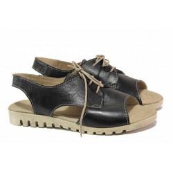 Български дамски сандали с актуален дизайн, анатомично ходило, за широк крак, естествена кожа / Ани 266-16121 черен / MES.BG