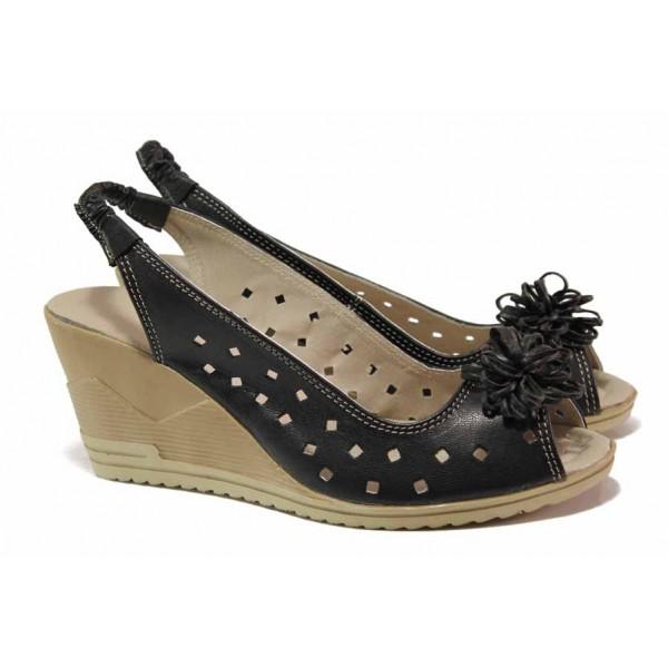 Дамски сандали от естествена кожа, висока платформа, закопчаване-ластик / Ани 114-15462 черен / MES.BG