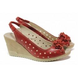 Български дамски сандали на висока платформа, естествена кожа, анатомия / Ани 114-15462 червен / MES.BG