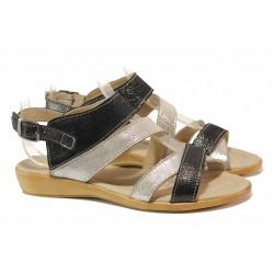 Български дамски сандали с актуален дизайн, анатомично ходило, естествена кожа / Ани 269-16121 черен / MES.BG