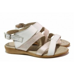 Български дамски сандали за лятото, катарама, анатомични, естествена кожа / Ани 269-16121 бял / MES.BG