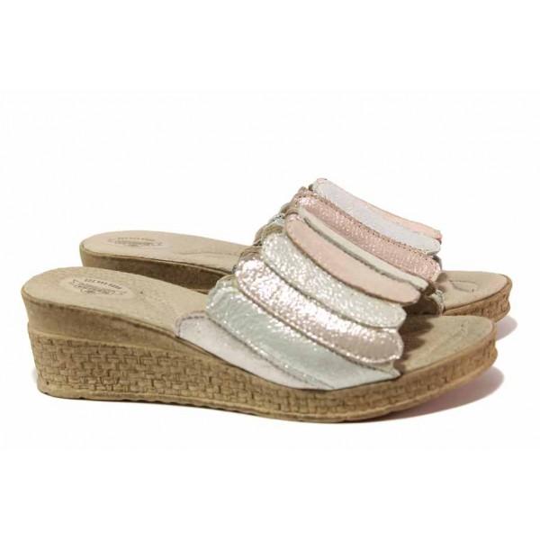 Ефектни дамски чехли, анатомична платформа, естествена кожа / Ани 397-18206 розов-сребро / MES.BG