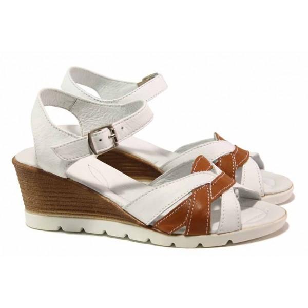 Български анатомични сандали с актуален дизайн, платформа, естествена кожа / Ани 202-96199 бял-антик / MES.BG