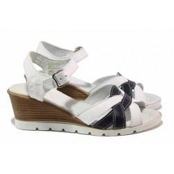 Български анатомични сандали, комфортно ходило-платформа, естествена кожа / Ани 202-96199 бял-син / MES.BG