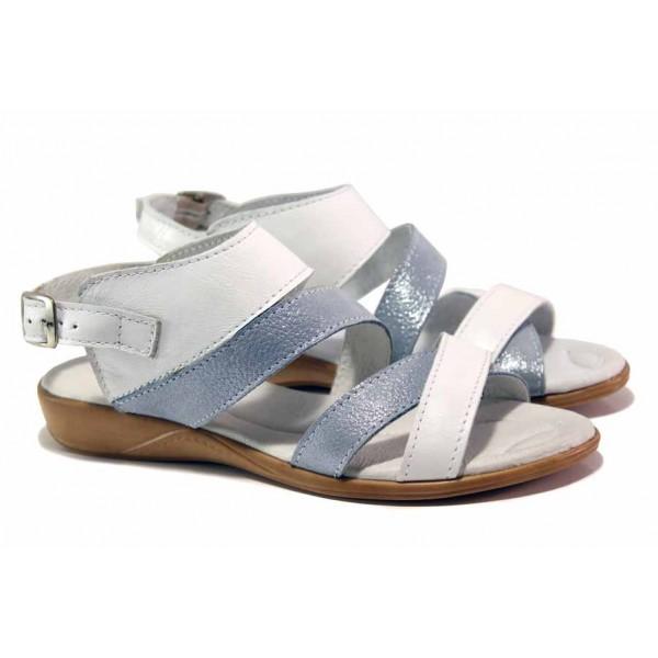 Комфортни дамски сандали в перлено синьо, анатомични, естествена кожа / Ани 269-16121 бял-океан / MES.BG
