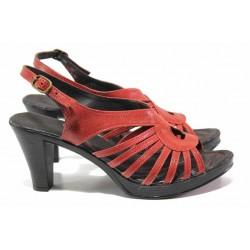 Ефектни дамски сандали, изцяло от естествена кожа, висок ток, катарама / Ани 30-6843 червен / MES.BG