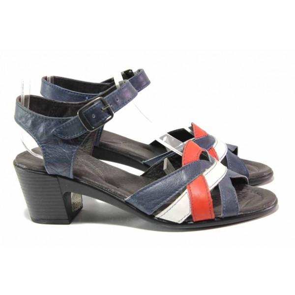 Български анатомични сандали, естествена кожа, каишка с катарама при глезена / Ани 202-7124 син / MES.BG