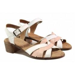 Български анатомични сандали, естествена кожа, преплетени контрастиращи ленти / Ани 202-7251 бял-розов / MES.BG