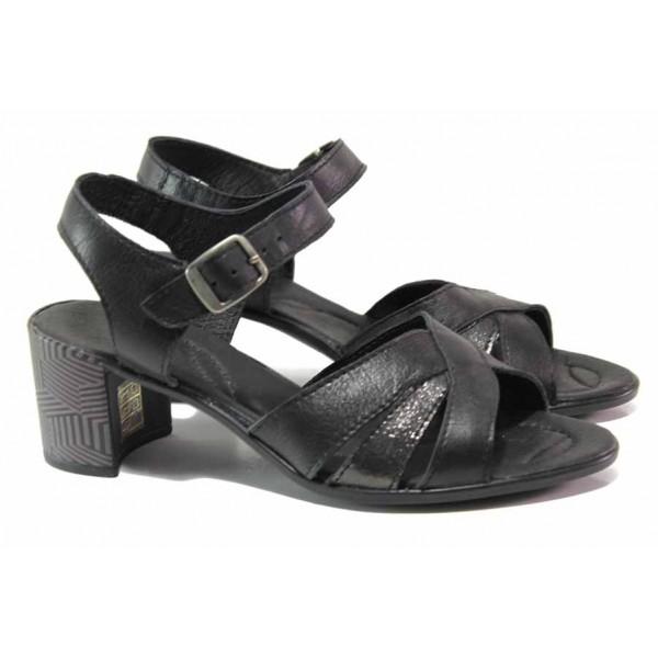 Български дамски сандали на среден ток, естествена кожа, анатомично ходило с плавна извивка / Ани 304-527 черен / MES.BG