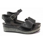 Български дамски сандали на платформа, подходящи за широк крак, анатомично ходило, естествена кожа / Ани 309-18206 черен / MES.BG