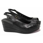 Дамски аннатомични сандали, висока платформа, естествена кожа / Ани 243-96145 черен / MES.BG