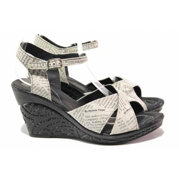 Анатомични дамски сандали от естествена кожа, висока платфорна, закопчаване-катарама / Ани 240-4025 бял букви / MES.BG