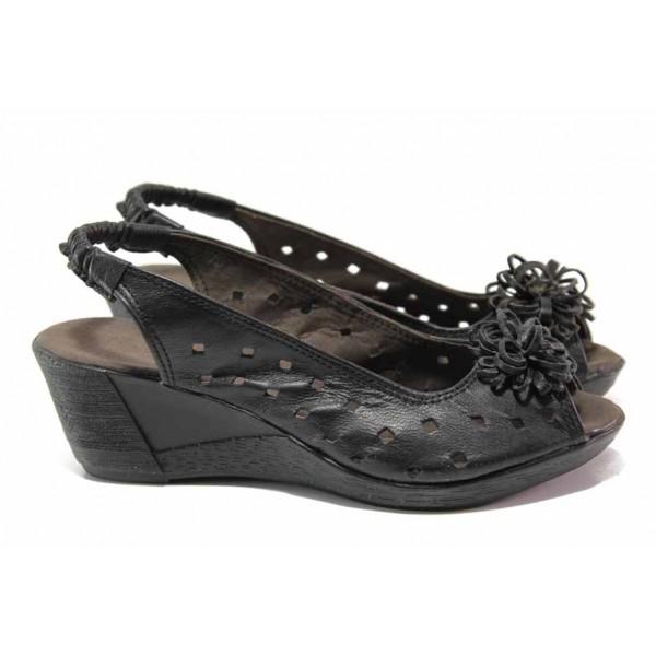 Дамски сандали от естествена кожа, ластик за лесно обуване, платфорна / Ани 114-14311 черен / MES.BG