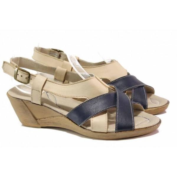 Български дамски сандали от естествена кожа, анатомични, закопчаване-катарама / Ани 179-14311 бежов / MES.BG
