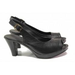 Български дамски сандали, естествена кожа, анатомични, висок ток / Ани 204-6843 черен / MES.BG
