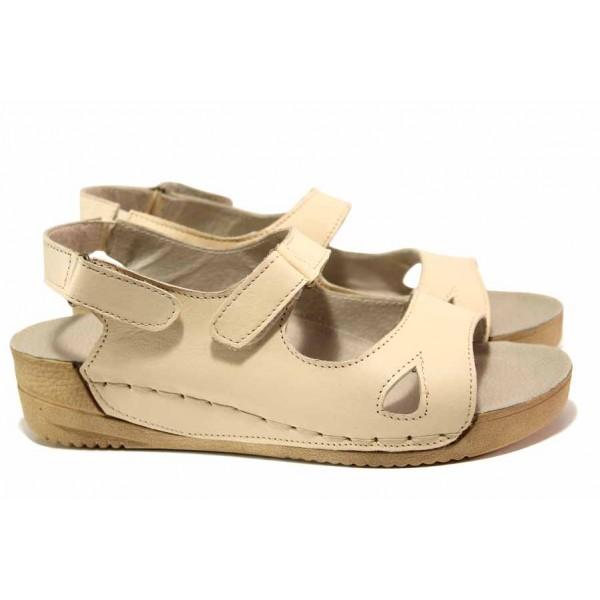 Равни дамски анатомични сандали, естествена кожа, велкро лепенки / Ани 178-14302 бежов / MES.BG