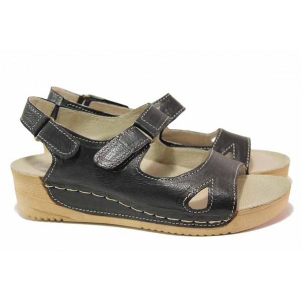 Български дамски сандали от естествена кожа, велкро лепенки, анатомично ходило / Ани 178-14302 черен / MES.BG