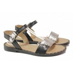 Български анатомични сандали за лятото, естествена кожа, велкро лепенки / Ани LIBERIKA-02 черен-бронз / MES.BG