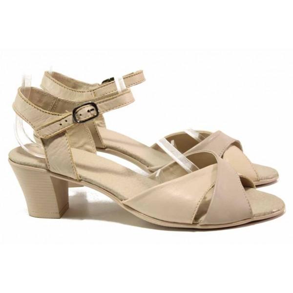 Дамски сандали с кръстосани каишки, естествена кожа, среден ток / Ани 240-1705 бежов / MES.BG