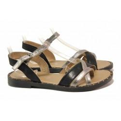 Равни дамски сандали, анатомични, естествена кожа, равни / Ани LIBERIKA-05 черен-бронз / MES.BG