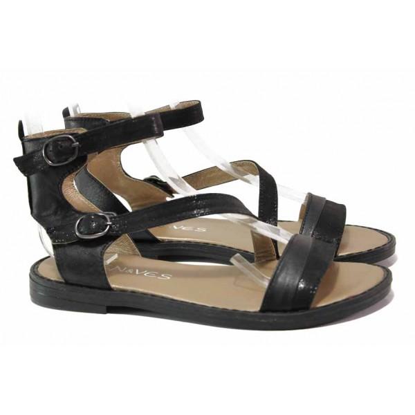 Български анатомични сандали, еластично ходило, естествена кожа / Ани LIBERIKA-03 черен / MES.BG